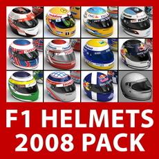 2008 F1 Helmets Pack 3D Model