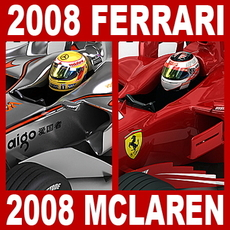 2008 F1 McLaren MP4-23 and Ferrari F2008 3D Model