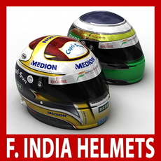 Adrian Sutil and Giancarlo Fisichella F1 Helmets 3D Model