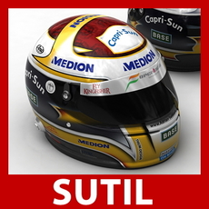 Adrian Sutil F1 Helmet 3D Model