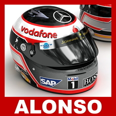 Fernando Alonso 2007 F1 Helmet 3D Model