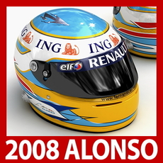 Fernando Alonso 2008 F1 Helmet 3D Model