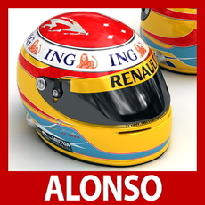 Fernando Alonso 2009 F1 Helmet 3D Model