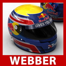Mark Webber F1 Helmet 3D Model