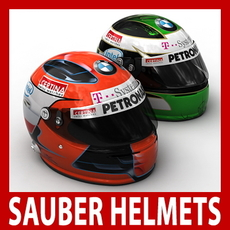 Robert Kubica and Nick Heidfeld F1 Helmets 3D Model