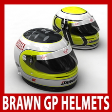 Rubens Barrichello and Jenson Button F1 Helmets 3D Model