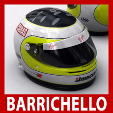 Rubens Barrichello F1 Helmet 3D Model