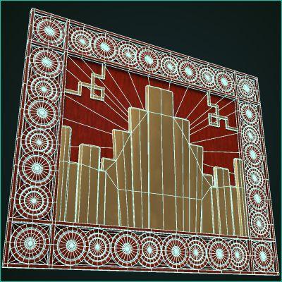 Art deco mural 3d model for Art nouveau mural