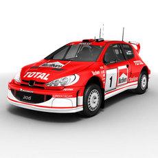 Peugeot 206 WRC rallycar 3D Model