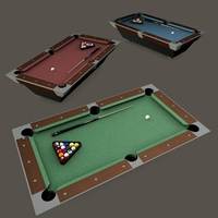 Pooltable Billiards with cue chalk and balls 3D Model