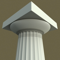 Doric column Paestum type 3D Model