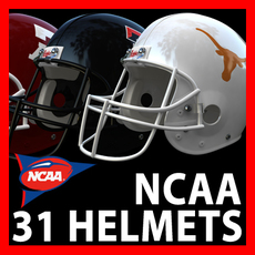 NCAA Football Helmets Pack 3D Model