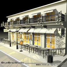 Cafe Restaurant facade 3D Model