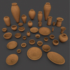 Ancient Egypt Clay Pottery 37 Pcs Uv Mapped 3D Model
