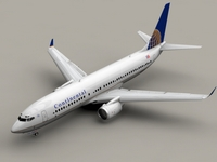 Boeing 737-800 Continental Airlines 3D Model