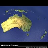 Australia and New Zealand 3D Model
