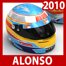 2010 F1 Fernando Alonso Helmet 3D Model