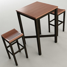 Pub Table with Stools 3D Model