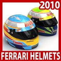 2010 F1 Fernando Alonso and Felipe Massa Helmets 3D Model