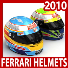 2010 F1 Fernando Alonso and Felipe Massa Helmets 3D Model