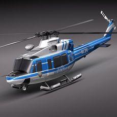 Police Bell 412 Surveillance Copter 3D Model