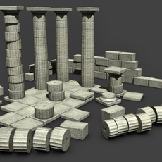 low poly Greek Doric ruins set  3D Model