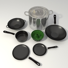Pots and pans set 3D Model