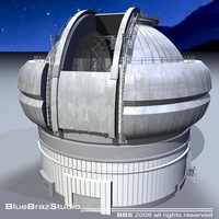 Observatory with telescope 3D Model