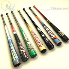 Baseball bats collection 3D Model