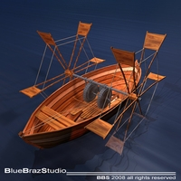 Leonardo's boat with shovel 3D Model