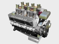 Ford 427 Weber V8 Engine 3D Model