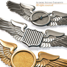 Wings badges 3D Model