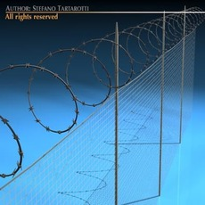 Fence with barbed wire 3D Model