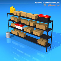storage shelves and boxes 3D Model
