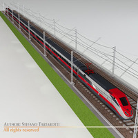 ETR500 Frecciarossa with main line 3D Model