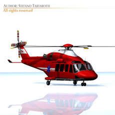 AW-139 air ambulance helicopter 3D Model