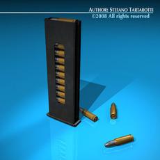 Gun cartridge with bullets 3D Model