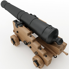 24 Pounder Naval Cannon 3D Model
