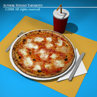 Pizza table set 3D Model