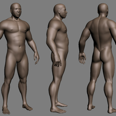 Muscled black Male 3D Model