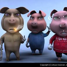 3 Little Pigs 3D Model