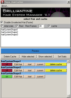 Brilliantine - Hair System Cache Manager for Maya 1.0.0 (maya script)