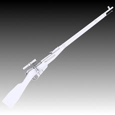 M91/30 Mosin Nagant with PU Scope 3D Model