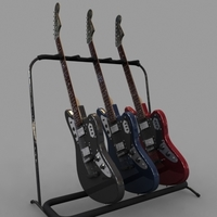 Fender JaguarHHElectric Guitar and Stand 3D Model