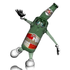 Beer Bottle Cartoon Character 3D Model