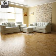 Ashley Zia - Spa Living Room Set 3D Model
