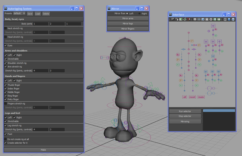 Automatic Rigging System written in MEL for Maya