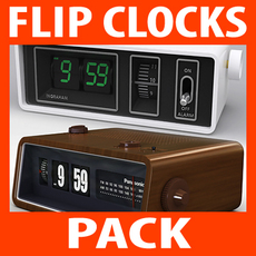 Retro Style Flip Clocks Pack 3D Model