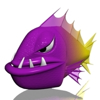 Angry piranha fish 3D Model