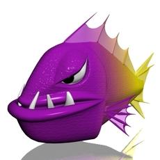 Angry piranha fish 3D Model